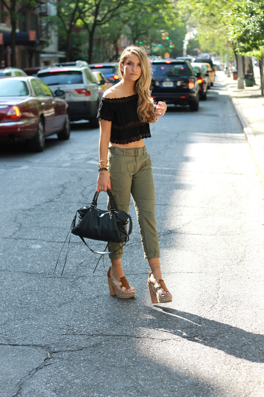 dressed for dreams in, cargo pants outfit, summer 2015 outfits, black lace top