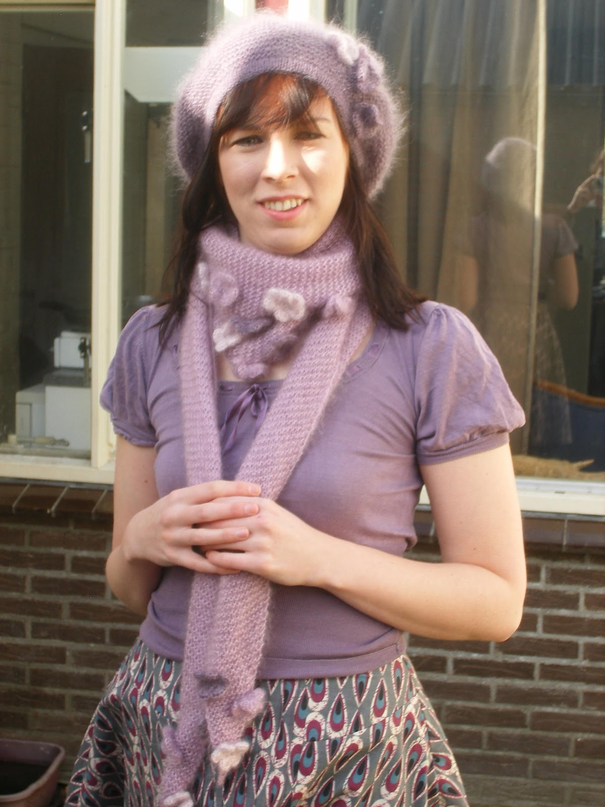 Beret and scarf made by Anthea