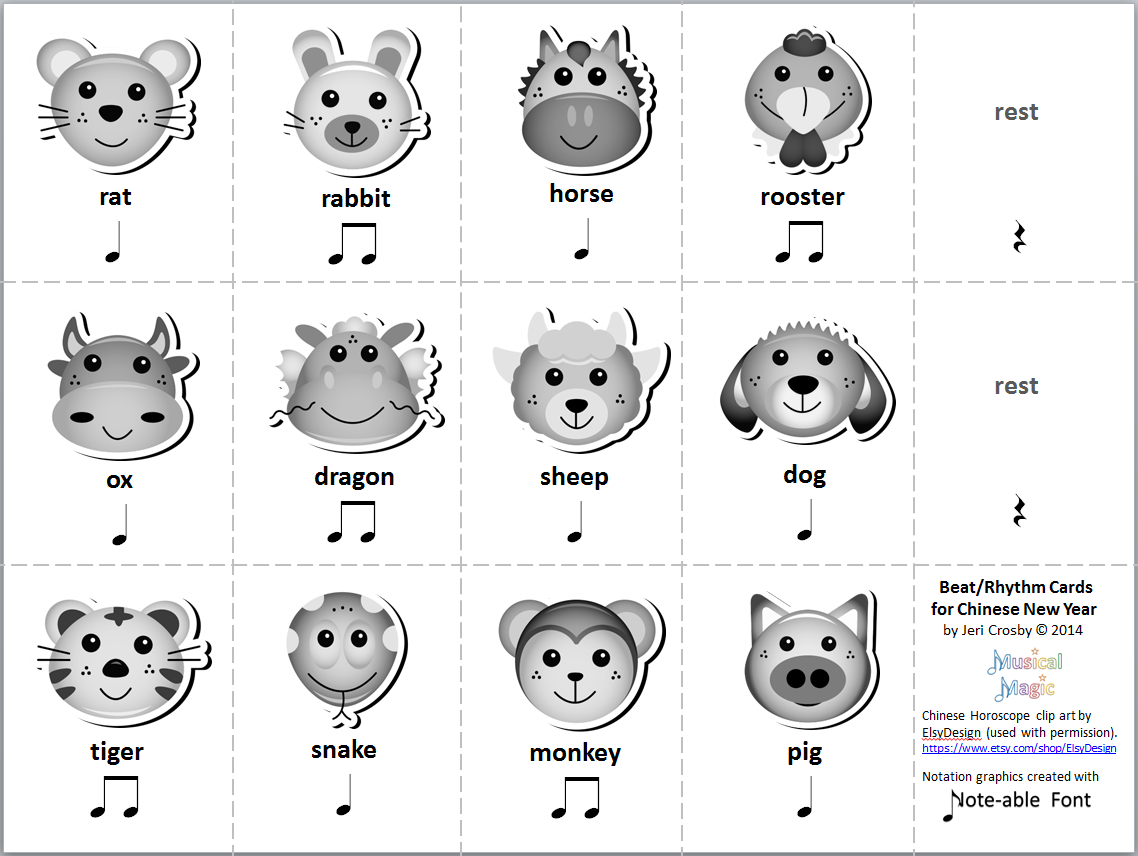 Chinese Zodiac Rhythm Cards - Freebie on TPT