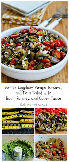 Grilled Eggplant, Grape Tomato, and Feta Salad with Basil, Parsley, and Caper Sauce (Low-Carb) [from KalynsKitchen.com]