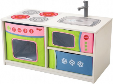 esta cmoda banqueta se convierte rpidamente en una cocina para nios las cajas plegables ofrecen mucho espacio de almacenaje para juguetes y se