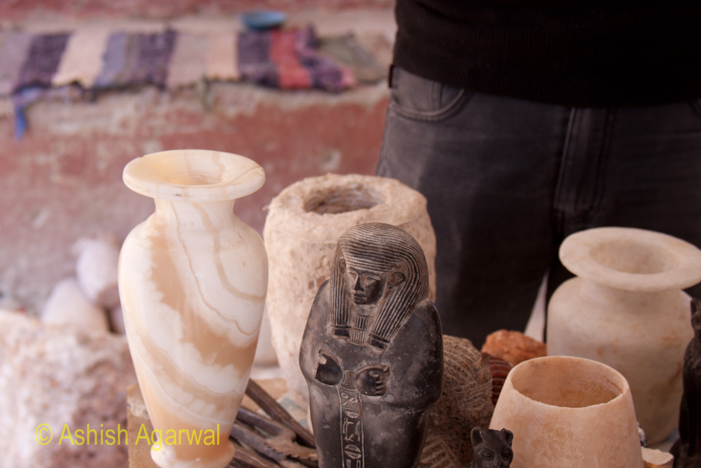 Sculptures and some beautiful vases made from Alabaster, in a small building near the Valley of the Kings