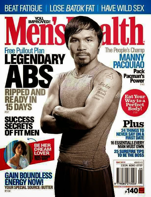 Manny Pacquiao Men's Health Magazine May 2015 issue with Jessy Mendiola