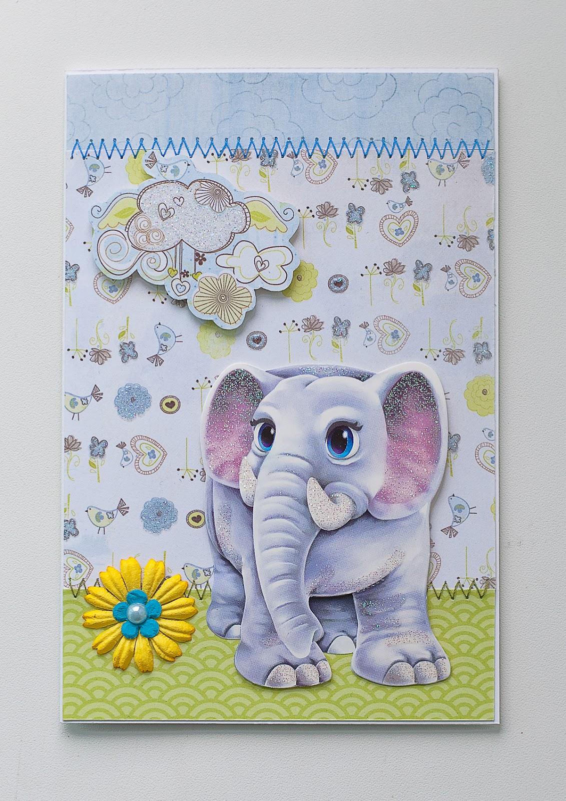 Открытка со слоником своими руками