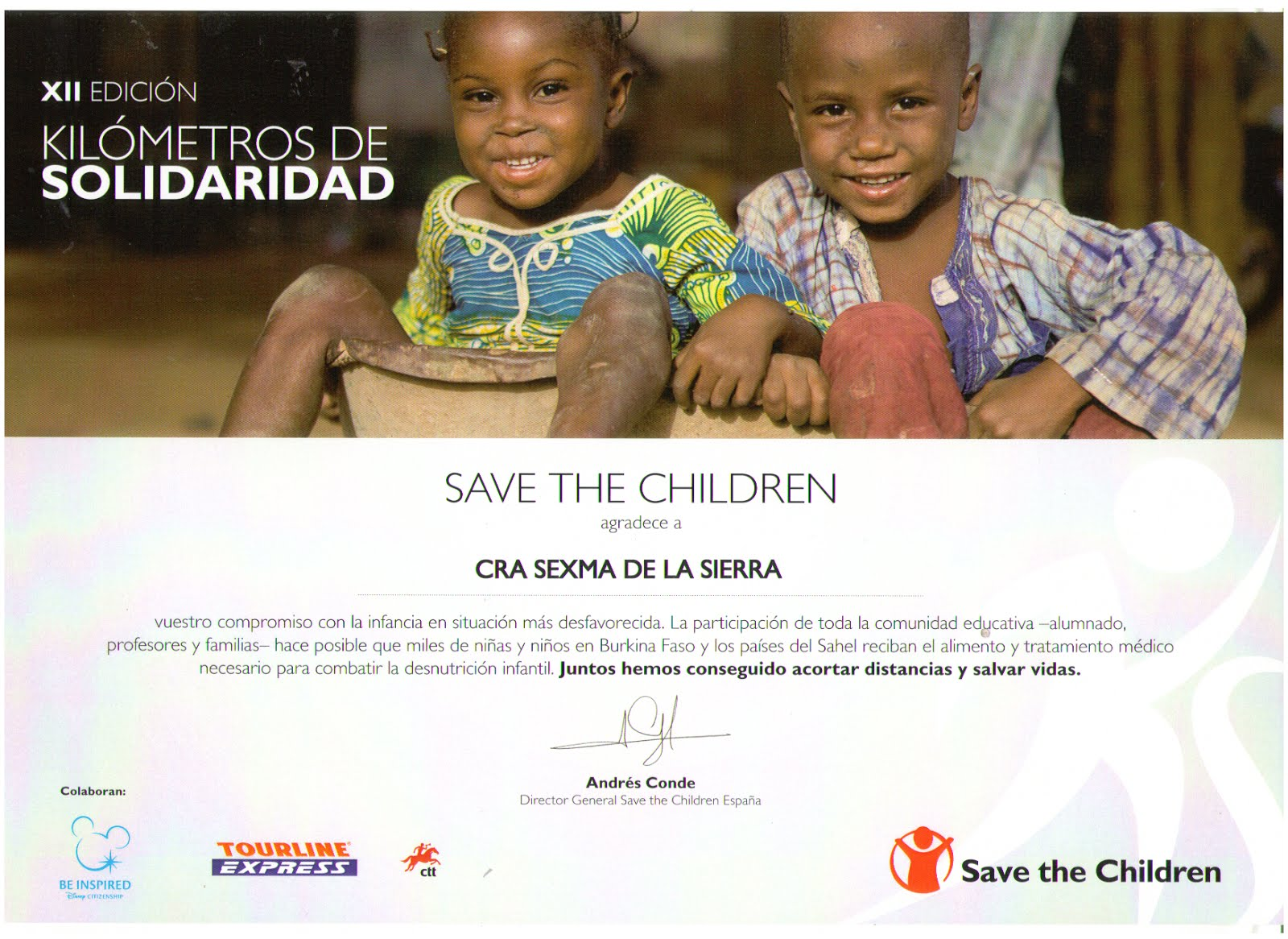 Colaboramos cada año con Save the Children 2015