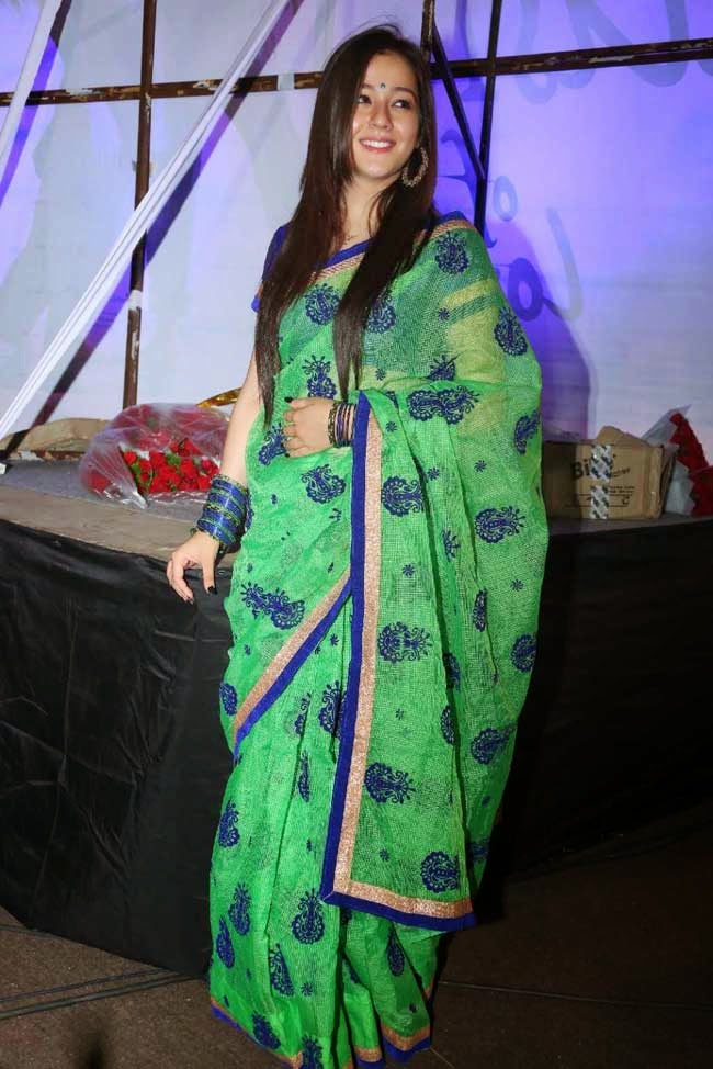 Priyal Gor in Green Silk Kota Saree