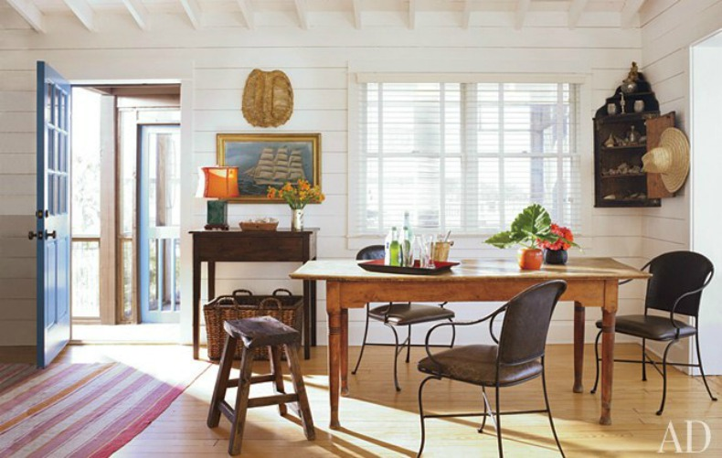 The Coastal Dining Room, eclectic , Swedish , vintage iron chairs.