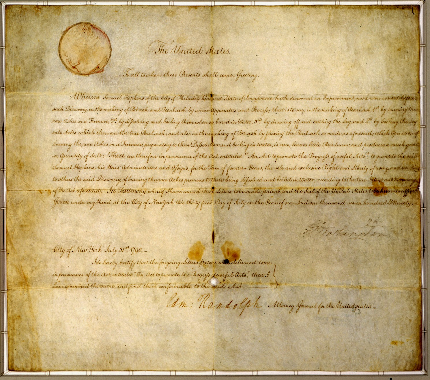 First patent granted in 1790