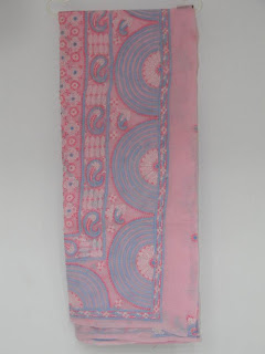 Lucknowi Chikan Pink Blue Cotton Saree