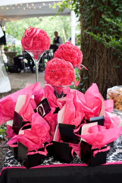 Black white and pink wedding Favor Boxes