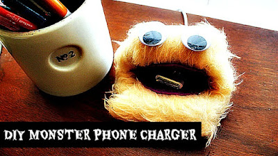 How to make a diy monster phone charger for father's day gift via holidayknight geniusknight.blogspot.com Father's day gift ideas