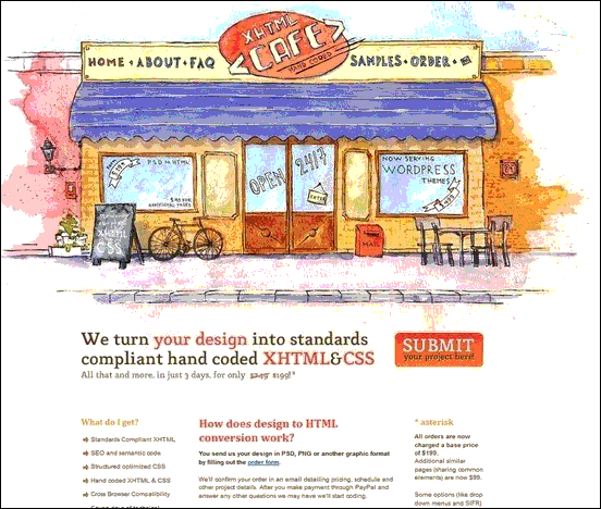 XHTML Café - Website design using drawings and illustration