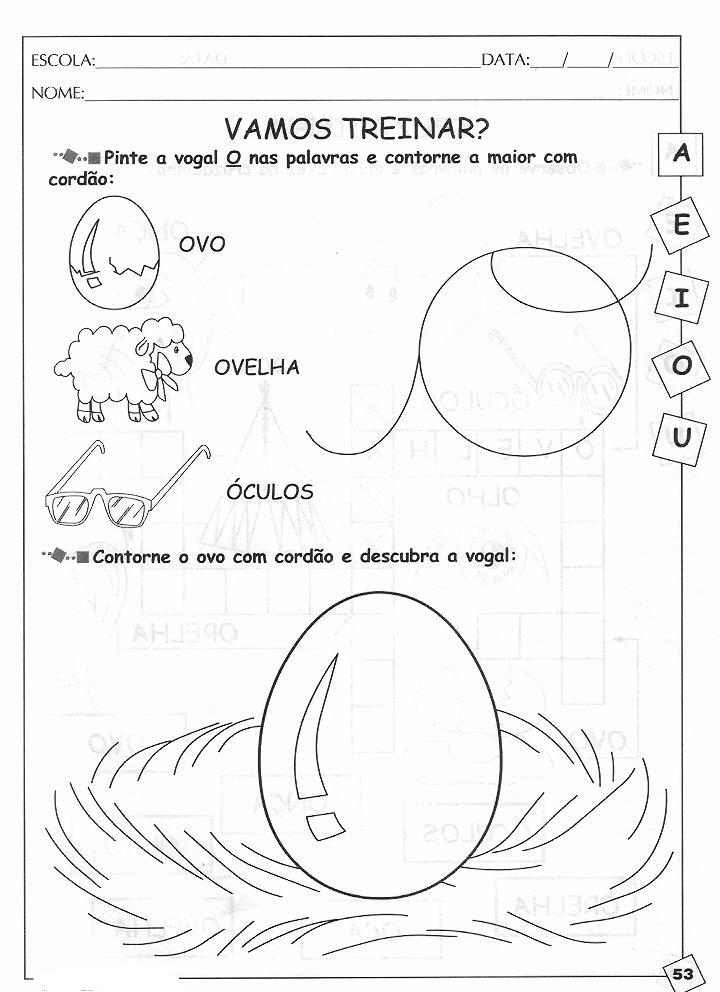 Preferência Alegria de Aprender na Educação Infantil: ATIVIDADES COM A VOGAL O YF54