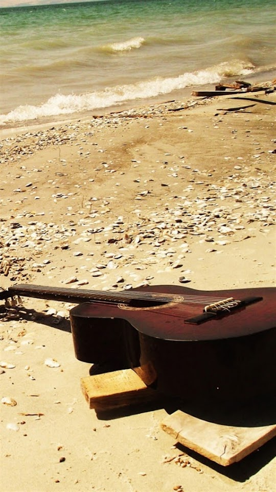Guitar On The Beach   Galaxy Note HD Wallpaper