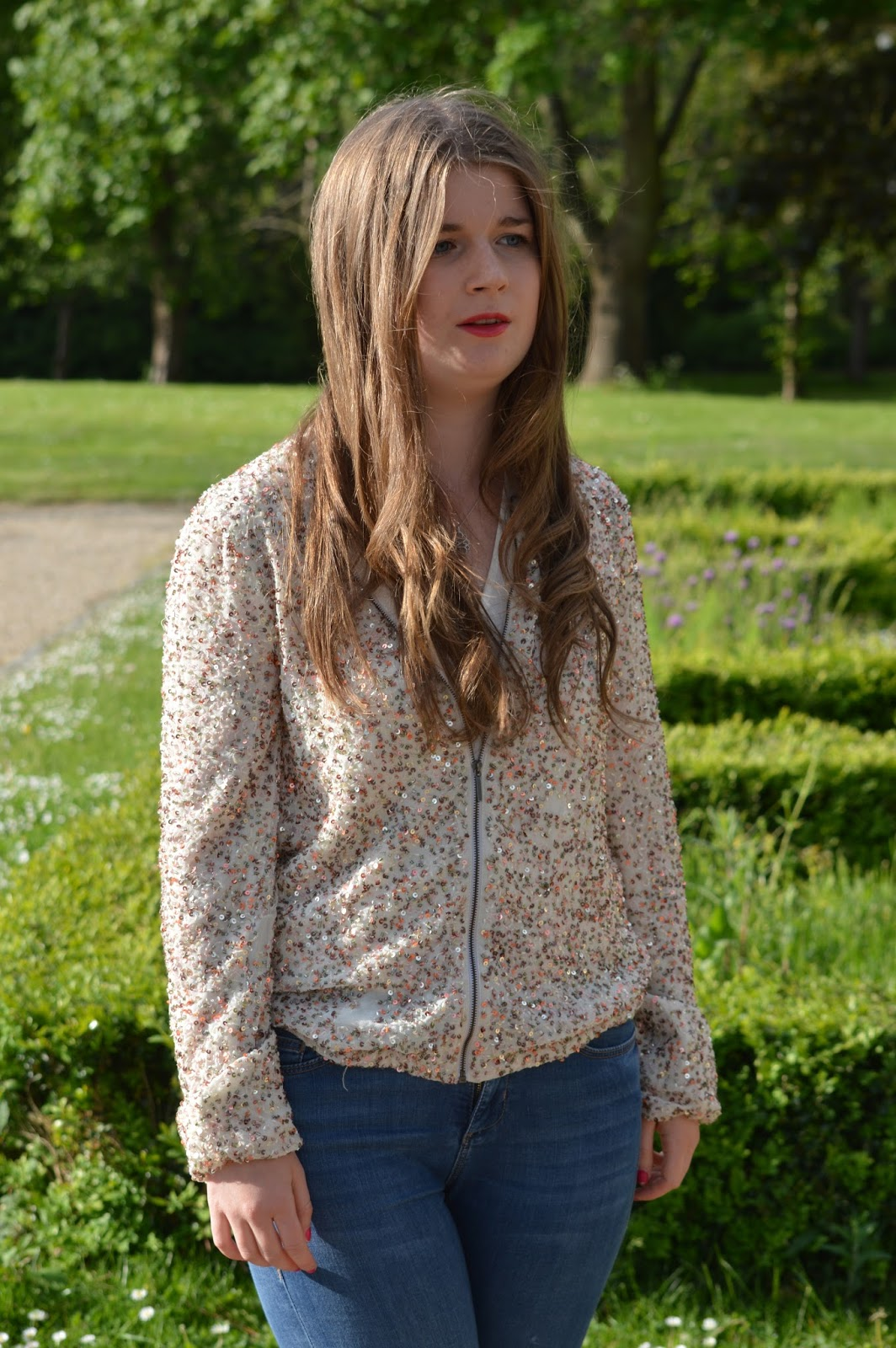 Zara sequin jacket fashion blogger