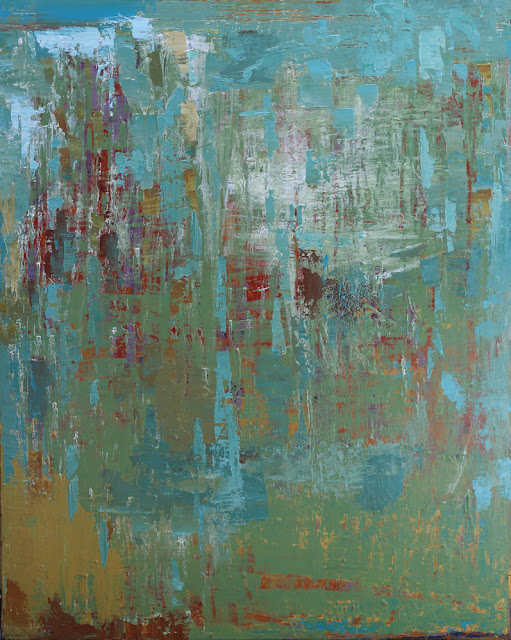 """Evocative abstract painting titled Cascadia by Karri Allrich in blues, greens, turquoise and earth tones. 50x40"""""""