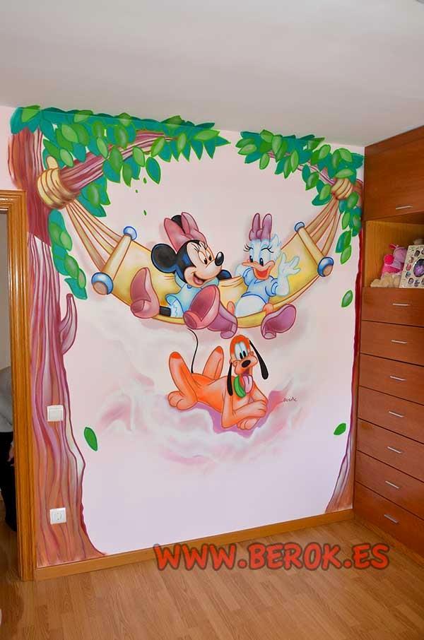 Mural infantil de Minnie Mouse, Daisy y Pluto