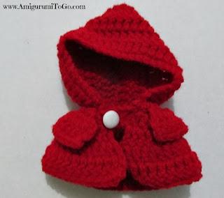 red crochet hood
