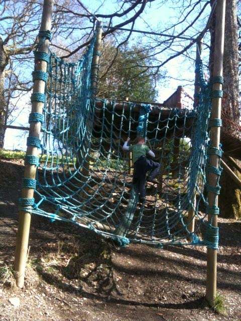 climbing the scramble net at Brockhole