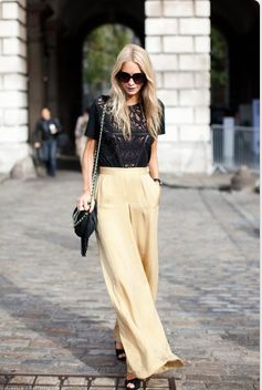 black camisole and butter wide legged pants