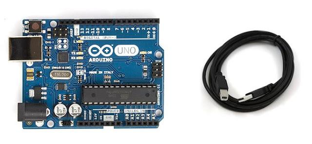 Gambar board arduino dan kabel usb