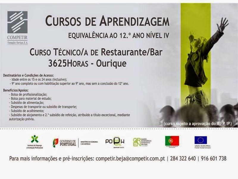 Curso de aprendizagem de Técnico/a de Restaurante e Bar em Ourique (Alentejo)