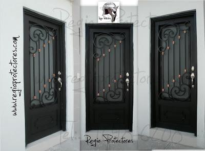 Regio protectores puerta principal de hierro forjado for Modelos de puertas principales en metal