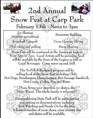 2-13 2ND Annual Snow Fest Carp Park