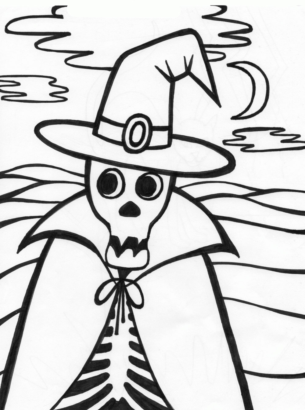 Halloween coloring pages halloween skeleton coloring for Halloween print out coloring pages