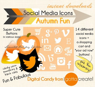 Autum Fall Holiday Thanksgiving Halloween Social Media Icon Buttons from I Gotta Create