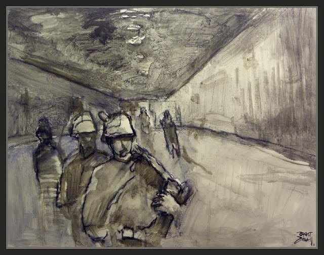 BATALLA DE BERLIN-PINTURA-ARTE-METRO-WAFENN SS-SOLDADOS-III REICH-ALEMANIA-FINAL-SEGUNDA GUERRA MUNDIAL-HISTORIA-PINTOR-ERNEST DESCALS-