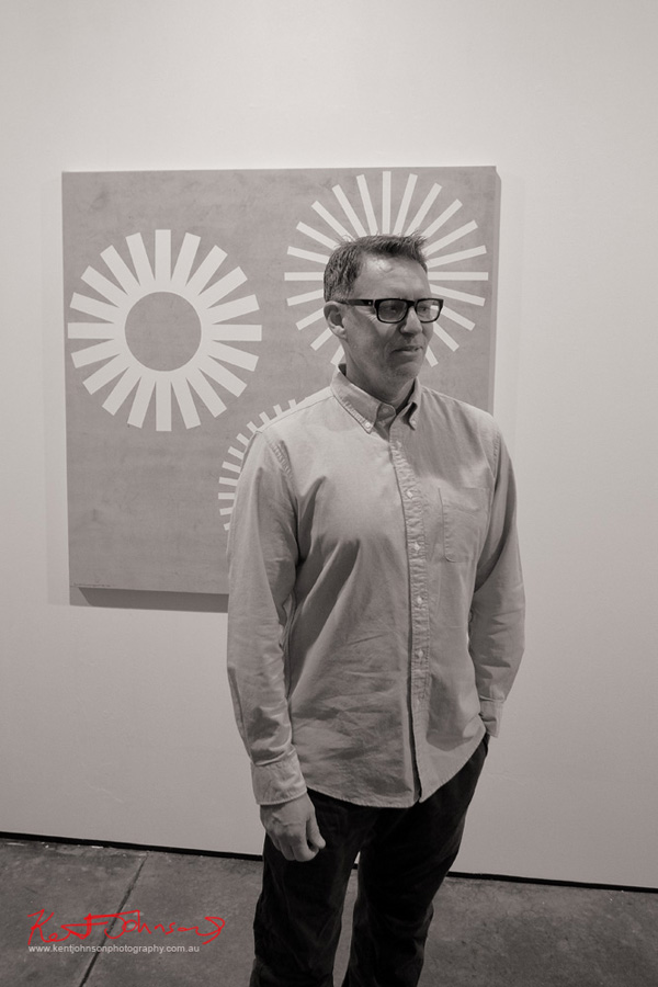 Artist portrait of Peter Atkins for obsolete logos Martin Browne Contemporary. Photo by Kent Johnson.