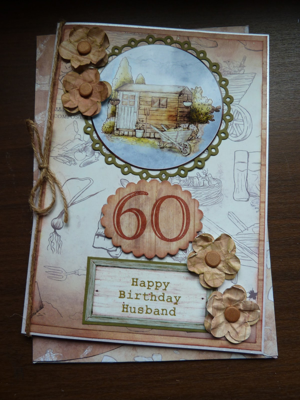 A 60th Birthday Card For Neighbours Husband I Used Cream Pearl The Base Image And Backing Paper Is From Debbi Moores Shabby Chic