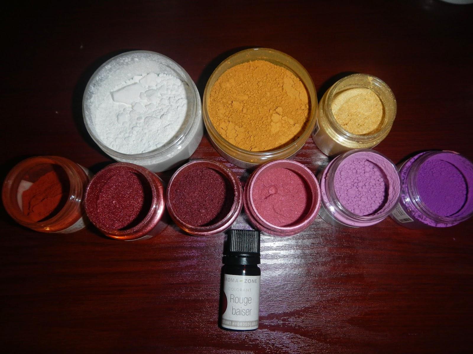 au milieu ocre rose ditalie mica cuivre mica framboise mica rose oxyde minral rose oxyde minral violet en bas colorant naturel rouge - Colorant Naturel Rouge