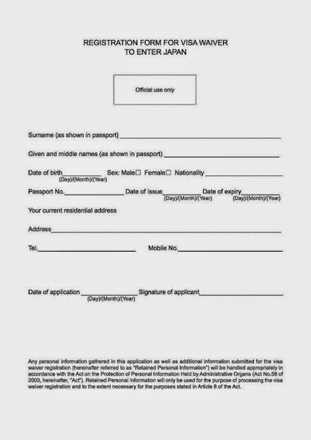formulir daftar bebas visa ke jepang