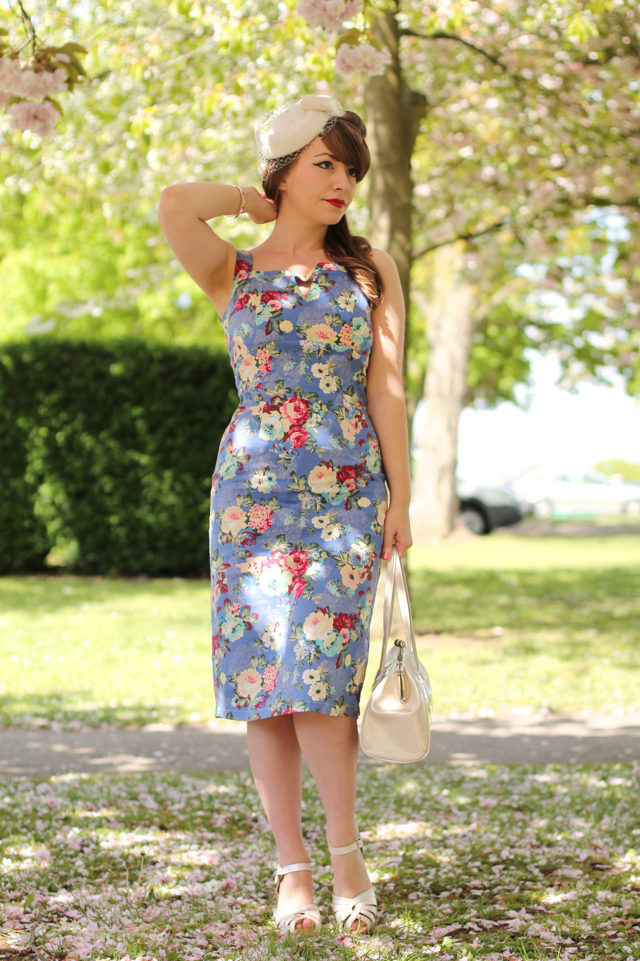 50s style floral wiggle dress by Whispering Ivy