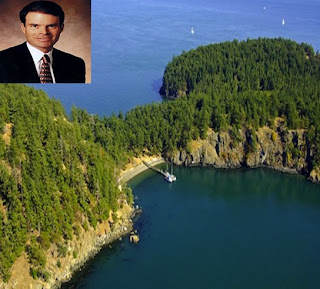 aerial photo of craig mccaw private island near vancouver