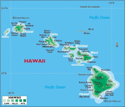 Islands of Hawaii map