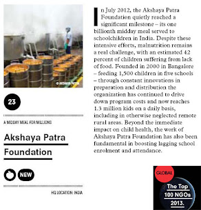 Akshaya Patra Ranked 23rd among Top 100 NGOs