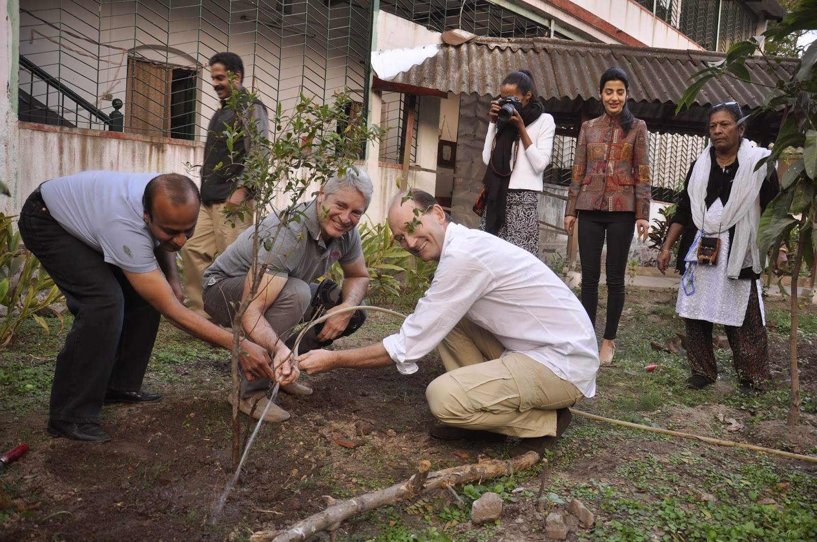 Planting a pomegranate tree- Philipp and Sara Schoeller, Walter and Delphine Raizner,