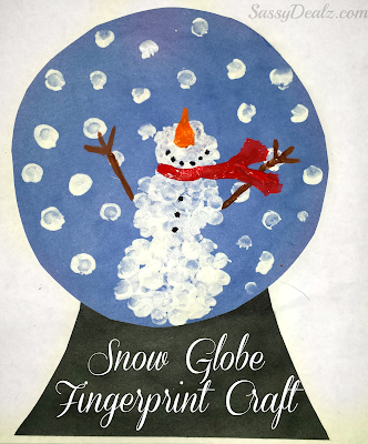 fingerprint snow globe snowman craft