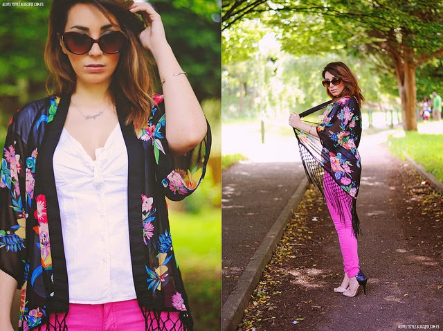 Wearing a Black Floral Kimono Cardigan with Pink Colored Jeans