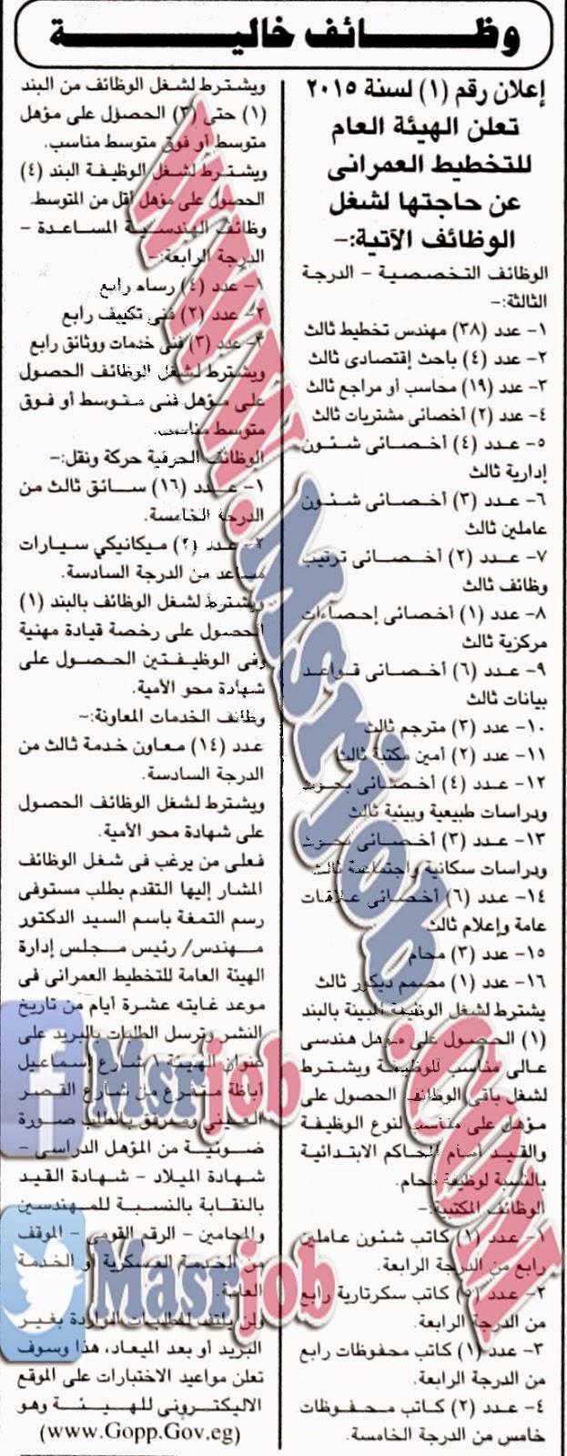 وظائف الهيئة العامة للتخطيط العمراني - اعلان رقم 1 لسنة 2015