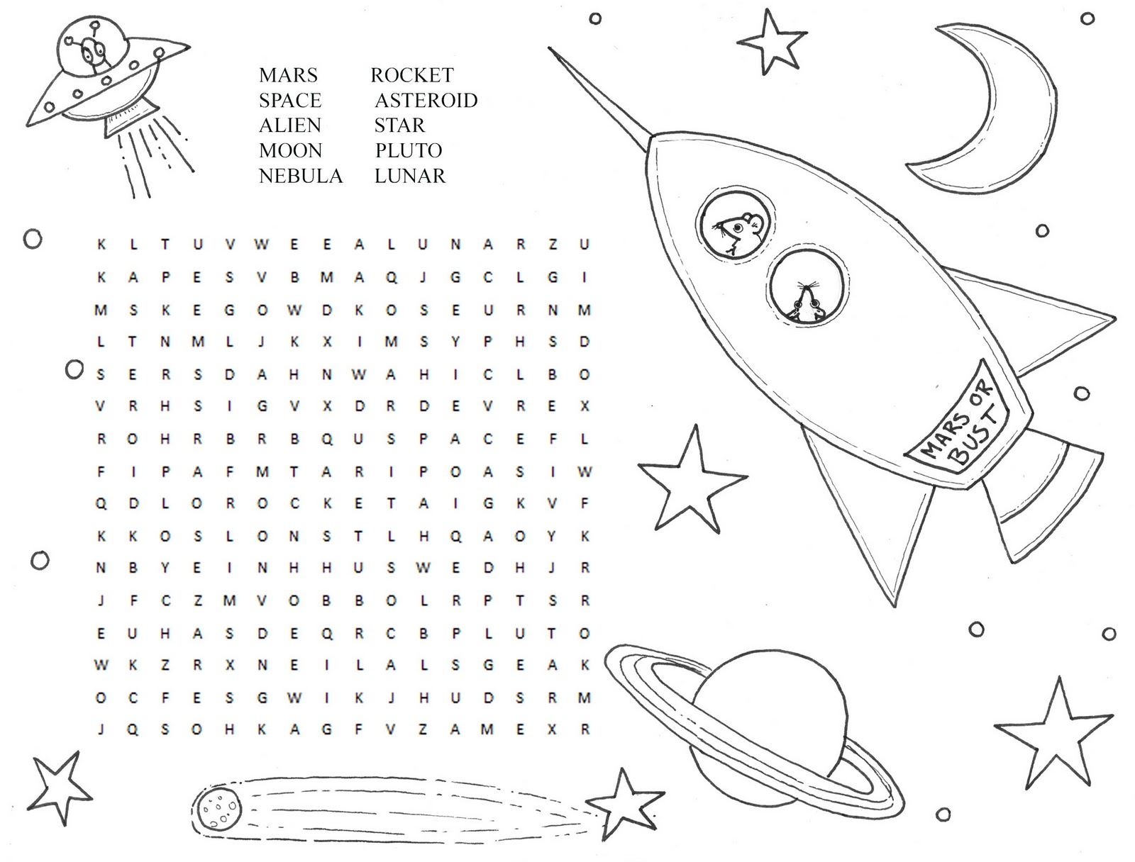 Hedgie's Desk: Space Word Search