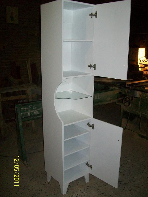 Mobilack placard de ba o con estante de vidrio y estantes for Zapatero para bano