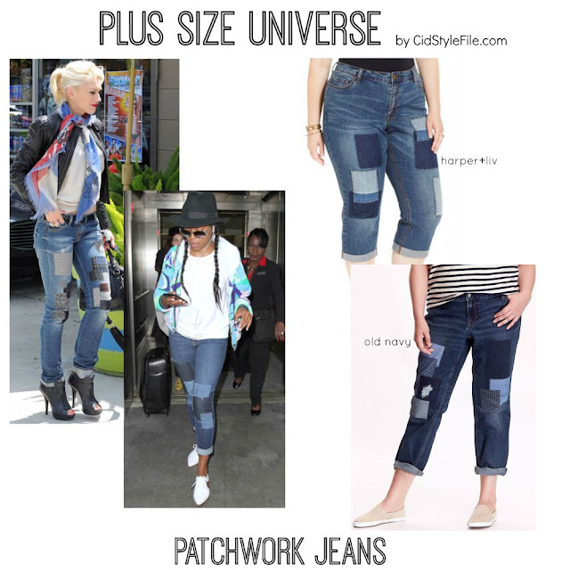 plus size jeans, patchwork denim, gwen stefani, taraji p henson, harper and liv, old navy jeans,