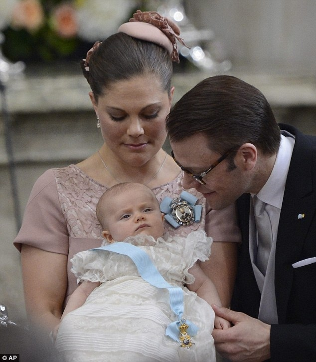 Heiress: Princess Estelle Silvia Ewa Mary of Sweden is second in line to the throne and will succeed her mother even if the royal two go on to have a son, thanks to a recent change in Swedish constitution