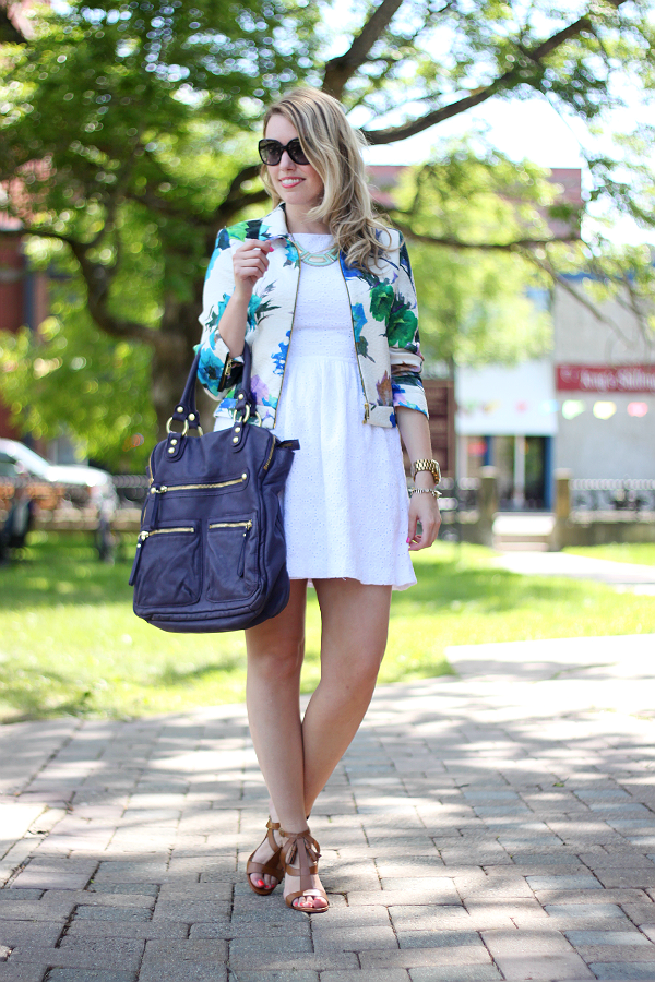 Zara Floral Watercolor Jacket, Little White Dress, White Summer Eyelet Dress, Linea Pelle Dylan, Lillian Nail Tassel Sandals