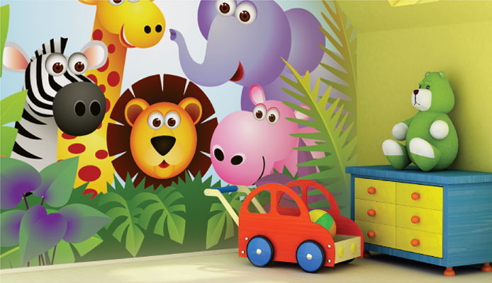 Baby Jungle Animals Wall Murals