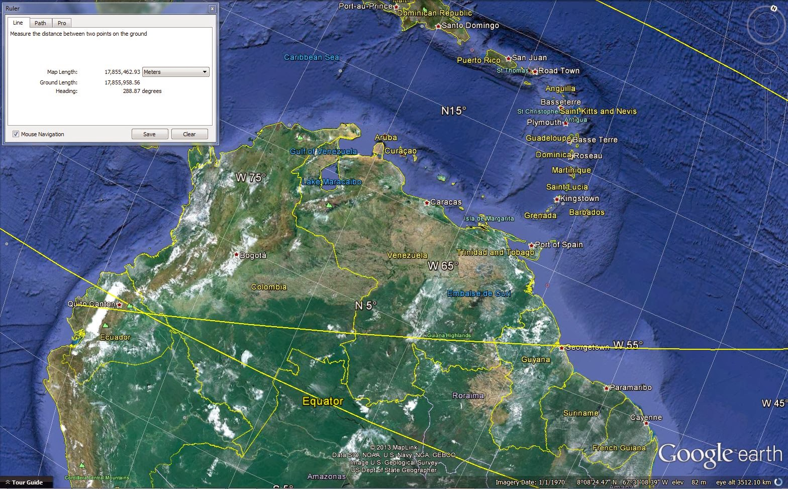 space images South America, Colombia, Venezuela, Caribbean Islands, Google Earth screenshot